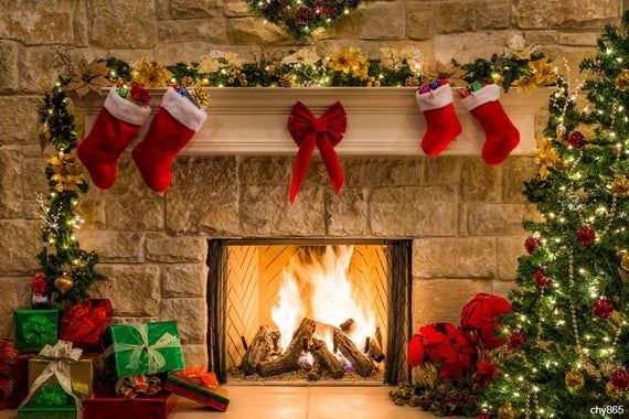 Christmas Ty 2021 Products Christmas Fireplace Backdropinterior Vintage Xmas Tree Etsy In 2021 Christmas Tree And Fireplace Christmas Fireplace Christmas Tree With Gifts