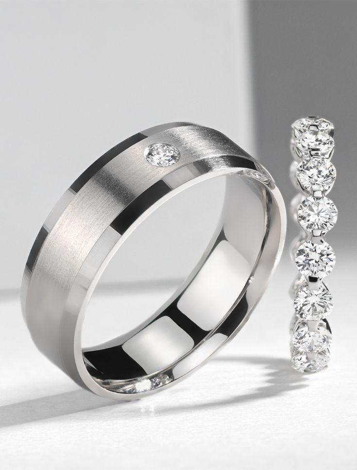Modern in design  this subtle wedding band encompasses a single diamond  burnished set in165 best Men s Wedding Rings images on Pinterest   Blue nile  . Modern Mens Wedding Band. Home Design Ideas