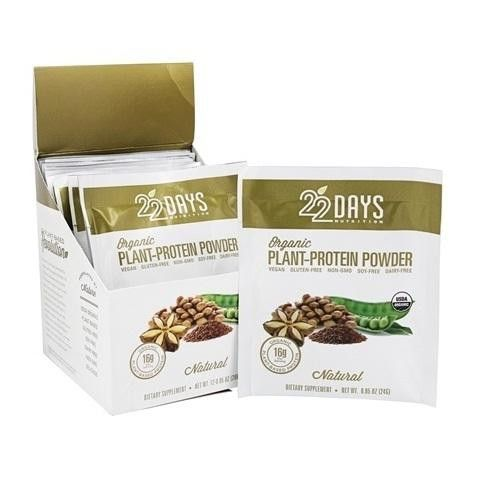 22 Days Nutrition Plant Protein Powder Organic Natural .85 Oz Case Of 12