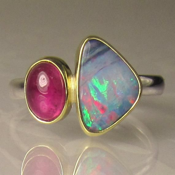 Boulder Opal And Pink Tourmaline Ring Australian Opal And Pink Tourmaline Ring 18k Gold And Sterling Silver Pink Tourmaline Ring Tourmaline Ring Ethiopian Opal Ring