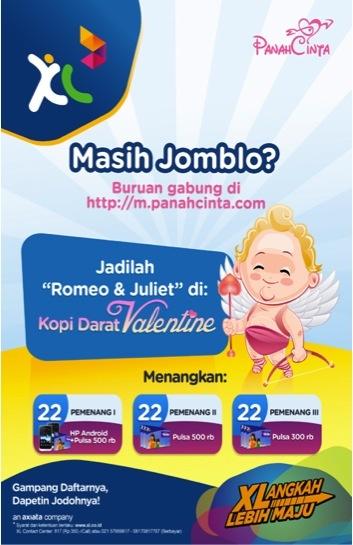 Buat kalian yang masih jomblo dan pengen dapet kenalan di hari Kasih Sayang, gabung Panah Cinta yuk dan ikutan PANAH CINTA VALENTINE!    Yuk akses di di http://m.panahcinta.com/