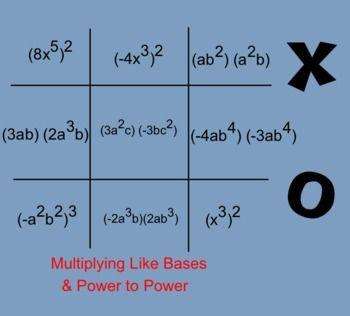CCGPS 8th Grade Math Exponents Tic Tac Toe