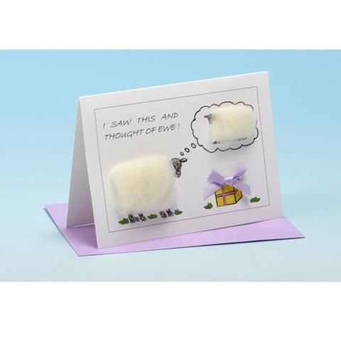 Handmade sheep gift card with real sheep's wool at FibreHut Sheepy Gifts in Hockley Heath, West Midlands