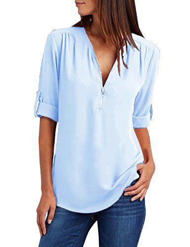 Yidarton Chemisier Femme Manches Longues Tunique Col V à Zippé Mousseline Top  Blouse Mode (Bleu 56c97456a270