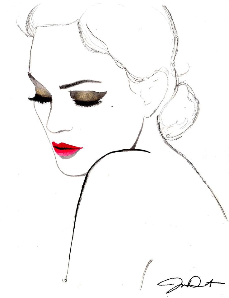 Original watercolor and pen fashion illustration by Jessica Durrant titled Simplicity