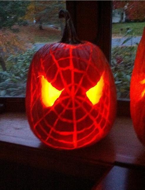 Spiderman pumpkin stencils free