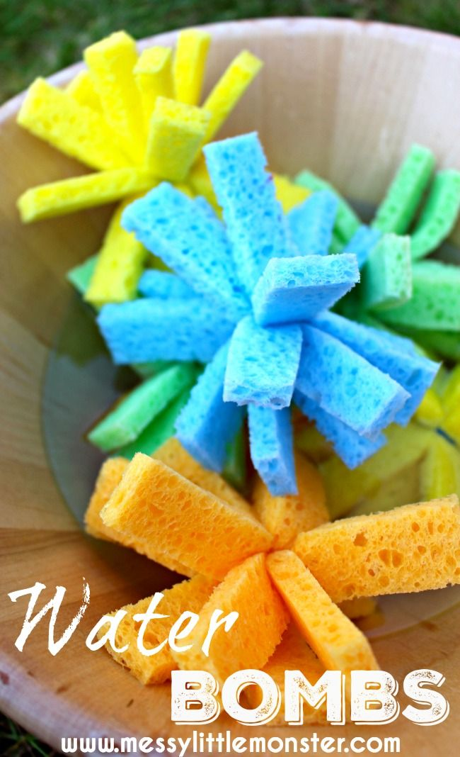 How to make DIY sponge water bombs. Summer activity ideas for kids.