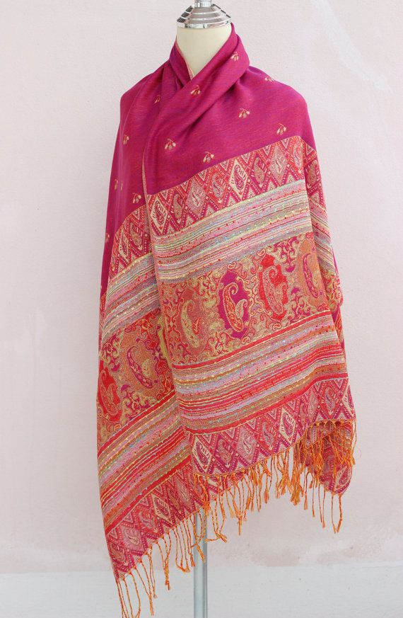 Pink and cream fabric shawl scarf Shawl Scarves by vinhomeshop