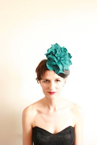 """Natalie Chan Couture millinery, """"Felipa"""" in Black and Teal New Zealand leather"""