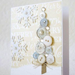 Button tree on a card - use your Xyron to adhere the snowflakes and the buttons!