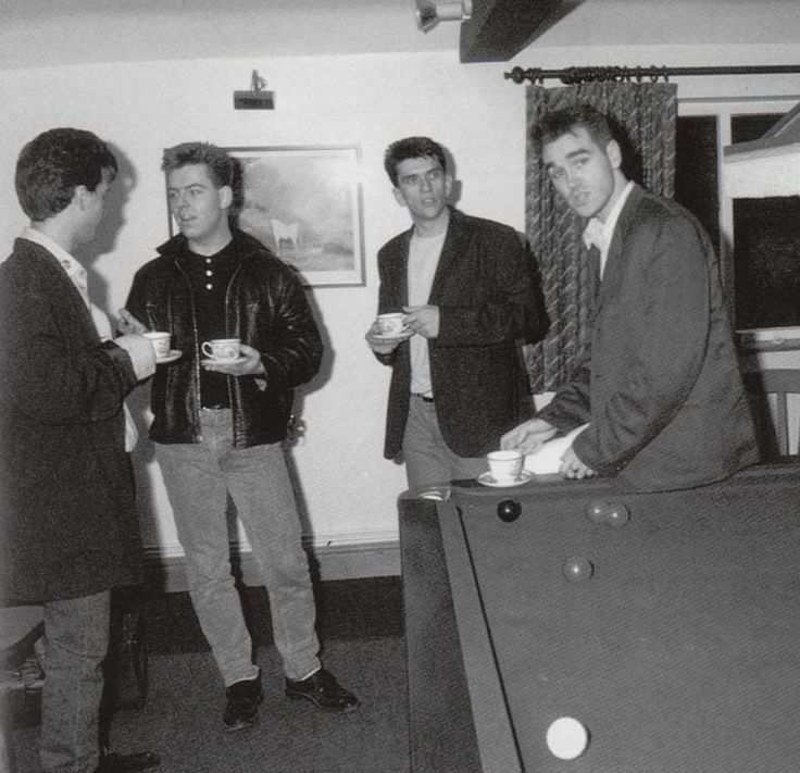 The Smiths with a round of cuppas.