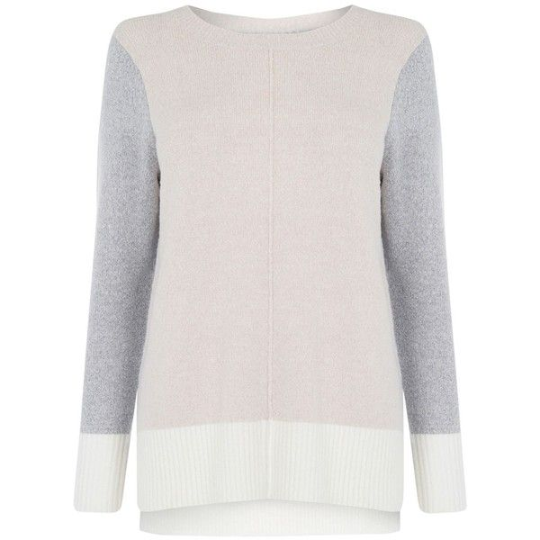 Oasis Colour Block Longline Jumper, Multi/Natural ($47) ❤ liked on Polyvore featuring tops, sweaters, thick knit sweater, pink long sleeve top, long line sweater, long sleeve sweater and acrylic sweater