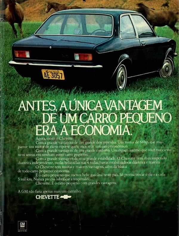 Campanha do Chevrolet Chevette em 1973: pequeno carro com grandes vantagens