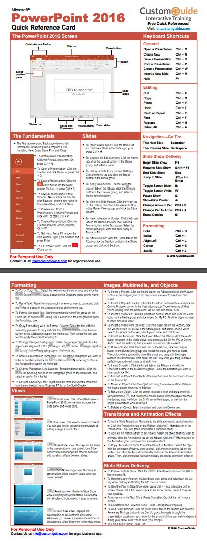 Free PowerPoint 2016 Quick Reference Card. http://www.customguide.com/cheat_sheets/powerpoint-2016-quick-reference.pdf