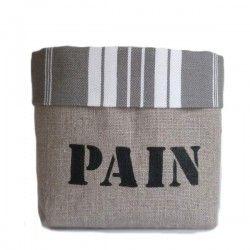 Panière Pain lin toile matelas grise