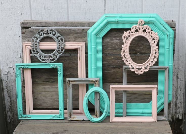 Set of 9 Open Frames - Soft Pink Blush, Turquoise, and Gray Painted Frames - Distressed Frames - Nursery Decor - Wedding Decor - Frame Set by TheSpeckledEgg2011 on Etsy https://www.etsy.com/listing/250861800/set-of-9-open-frames-soft-pink-blush