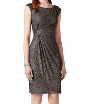 Connected Apparel NEW Black Animal Print Womens 10P Petite Sheath Dress $69 #061 | eBay