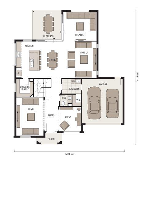 Downstairs floor plan (plus extended alfresco) - Plantation Homes Trinity