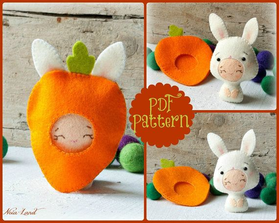 PDF. Bunny baby with carrot costume. Plush Doll Pattern, Softie Pattern, Soft felt Toy Pattern.
