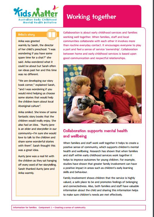 Top tips: Working together. Information sheets for families and ECEC staff.