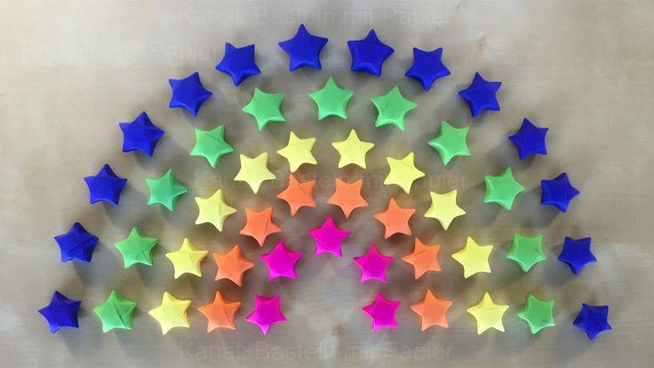 Regenbogen Deko: Origami Stern basteln mit Papier - Geschenk selber mach...