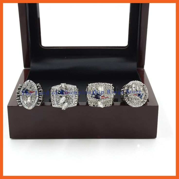 2001 2003 2004 2014 NEW ENGLAND PATRIOTS SUPER BOWL CHAMPIONSHIP RING, 4 PCS RING SET COLLECTION WITH WOODEN BOX