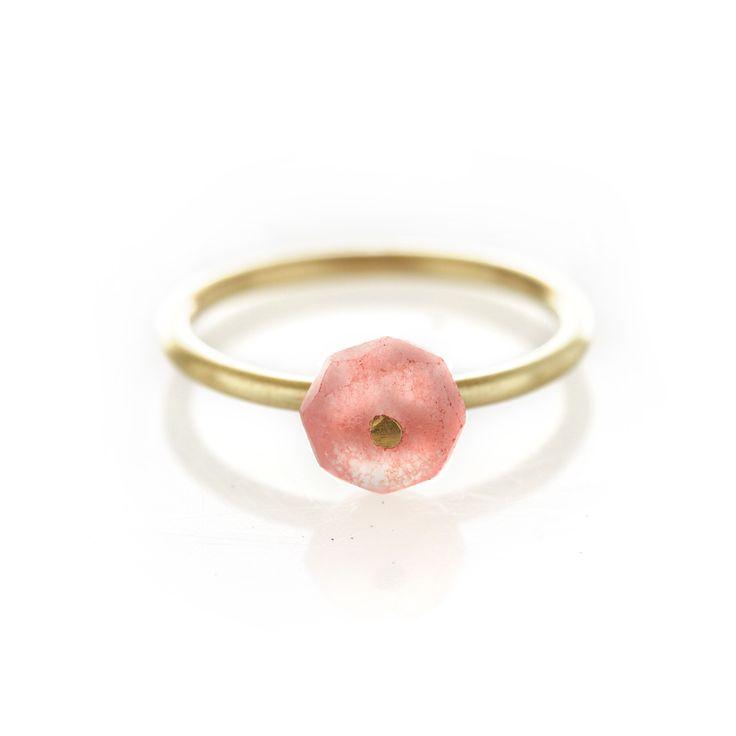 Rhodocrosite brass ring