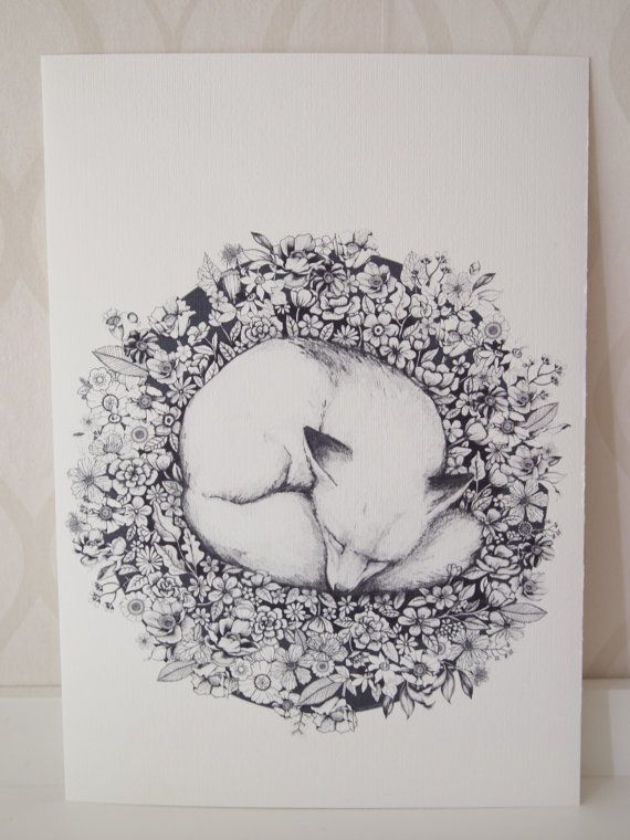 Fox illustration Sleeping in Flowers Cute animal by linnwarme