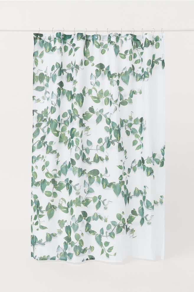 Patterned Shower Curtain White Leaves Home All H M Us 2
