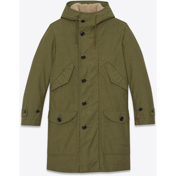 Saint Laurent M51 Parka ($2,100) ❤ liked on Polyvore featuring men's fashion, men's clothing, men's outerwear, men's coats, mens hooded coats and mens parka coats