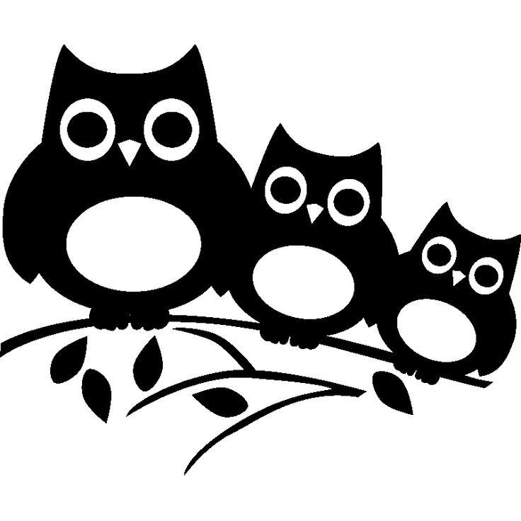 Stickers muraux Animaux - Sticker Trois hiboux sur un arbre