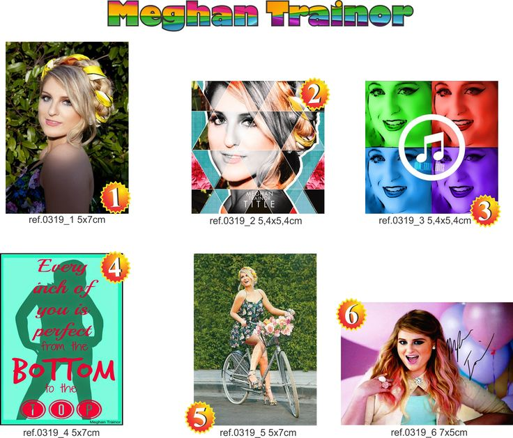 Meghan Trainor 6 peças 5x7cm foto, capa cd, art pop, letra, posters