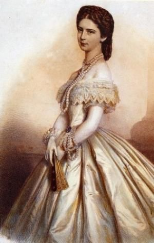 """Ball gown, 1860, """"Elisabeth d'Autriche robe de Bal"""" (Elisabeth of Austria) nicely shows an elegant lady ready for a gala evening, including silk and lace gown, pearls, fan, gloves, hair, perhaps a bit of cosmetics. Known as Sissi to her family and friends, she was a famous beauty in her day and assassinated at the age of 60 by an anarchist with a sharpened file. by letha"""