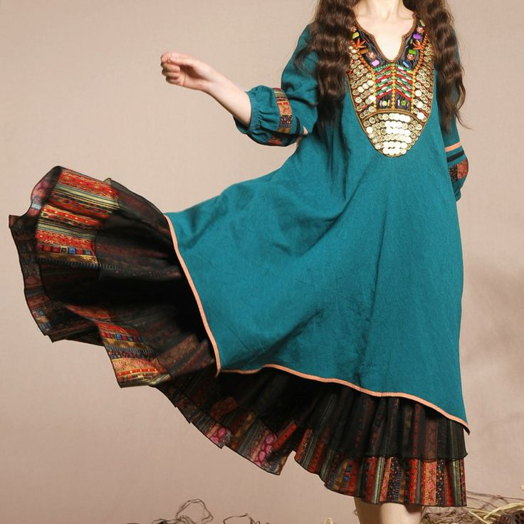 BOSHOW Webcasts autumn blue green parquet national trend three quarter sleeve loose style one piece dress-inDresses from Apparel & Accessori...