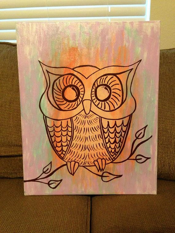 Hand Painted Owl canvas painting FOR SALE by CraftDesignByJen, $40.00