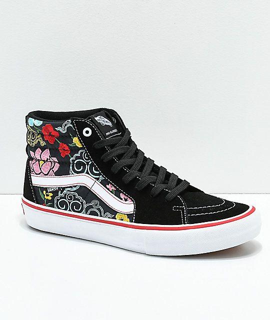 c880949596 Vans Sk8-Hi Pro Lizzie Floral Black   White Skate Shoes in 2019 ...