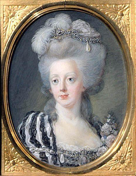 1780's Queen (consort of Sweden) Sophia Magdalena, wife of king Gustav III, by Niclas Lafrensen. She is wearing a formal court costume.