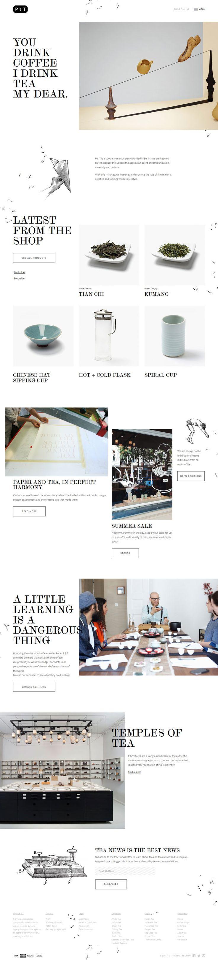 Minimal Design Website; Example; Category: Inspiration; Name Website: P & T; Type Website: Drink good tea; Serif Font; Color: Black and White.
