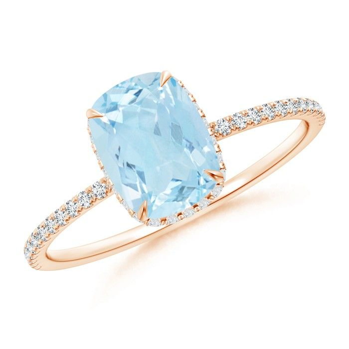 Angara Double Milgrain Outline Cushion Aquamarine Solitaire Ring RZSSUZ