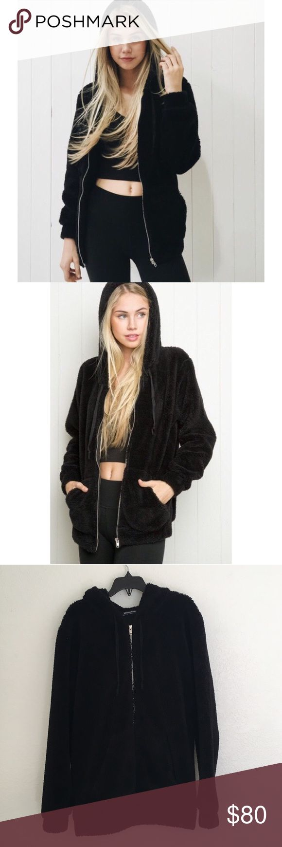 """• BM Plush Jacket • Brandy Melville • Black • Fuzzy + Soft Zip Up Jacket + Hood + """"Christina"""" • One Size  • 10/10 Condition  ❌No Trades ☀️ All Prices Are Starting Points 💕 Submit An Offer  Tags: John Galt, BM, American Eagle Outfitters, AEO, Urban Outfitters, UO, Forever 21, F21, Plush, Soft Brandy Melville Jackets & Coats"""