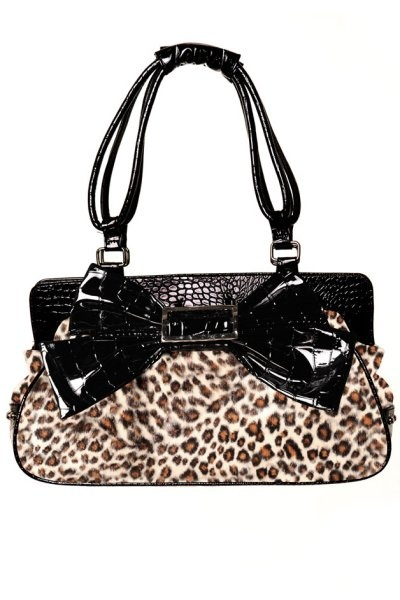 Leopard Print Large Handbag with Bow by Banned