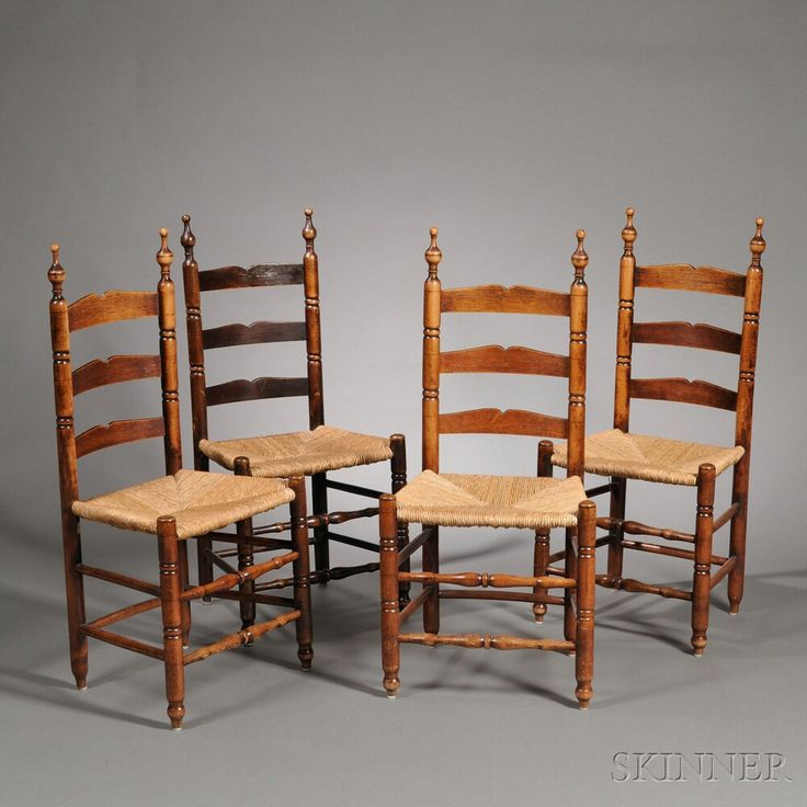Set of Four Turned Slat-back Rush Seat Side Chairs, probably Bergen County, New Jersey, late 18th century, the turned finials continuing to ring-turned stiles joining three shaped slats, the double vase- and ring-turned front stretchers joining ring-turned frontal legs ending in turned feet, old refinish, ht. 39, seat ht. 16 1/2 in. Estimate $600-800|  Skinner Auctioneers