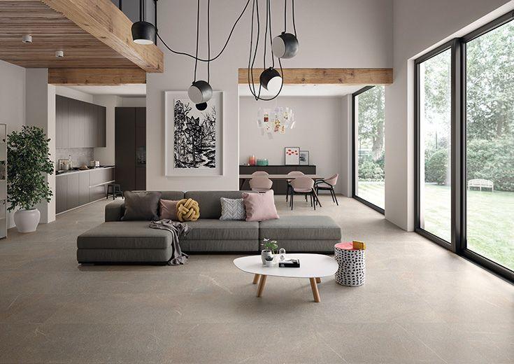 Piase by Emilceramica #emilgroup #emilceramica @stoneeffect #floortiles #interiordesign #madeinitaly #architecture #style #livingrooom #comfort #elegance #grey