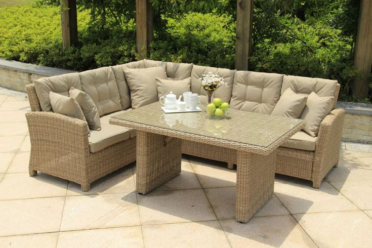 Dine and relax in style with the Serenity Corner Sofa Casual Dining set from Norfolk Leisure. It combines the comfort of a lounge set with a high dining table for a truly unique alfresco dining experience.