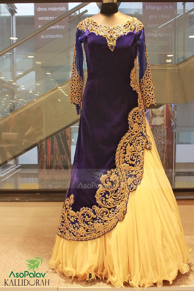 "Spell ""Beauty""..  Shop this online : http://www.saree.com/navy-blue-and-yellow-velvet-wedding-gown-with-handwork-dcaa0117"