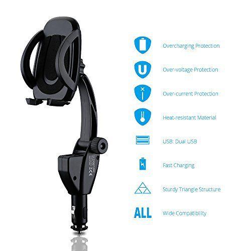 VicTsing vt-vd-1118-h Version mise à jour Support col de cygne Support voiture universel avec chargeur double USB 3.1A: 2en 1. Combine…
