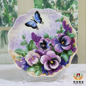 Butterflies - decoration plate ceramic plate