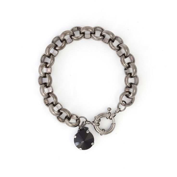 Chunk Bracelet with Swarovski Crystal Disc Charm