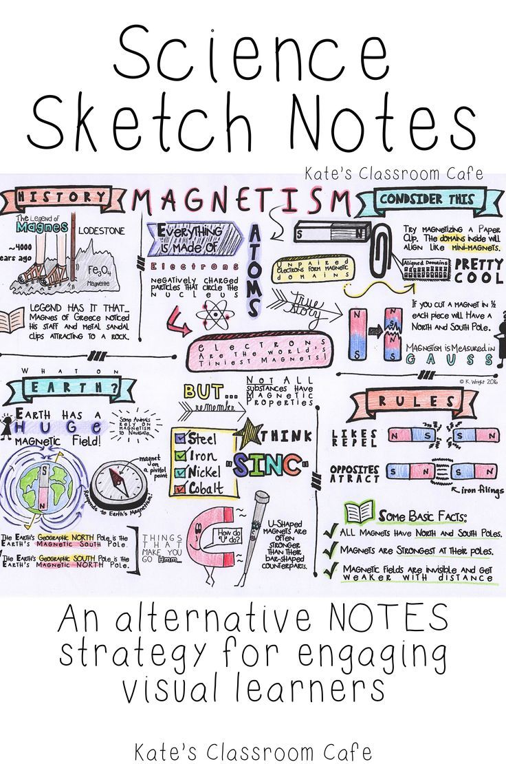 Middle school students like to connect with their notes by doodling, coloring and doing short hands-on experiments to make meaning of the content. Sketch notes involve less copying from the board and more thinking, doing and connecting ideas. Students can be given completed notes to add details to or can use the example notes as a model for creating their own sketch notes on a topic. This is an alternative to traditional note-taking with the visual learner in mind!