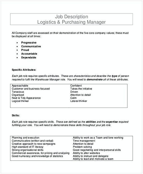Job Description Logistics Purchasing Manager Template Purchasing Manager Resume If You Wer Purchase Manager Logistics Management Management Skills Business